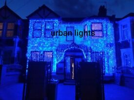Asian wedding lights hire, indian wedding outside house lights, wedding mehndi stage hire