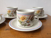 Vintage Churchill England Teacup & Saucer set. 4 retro cup and saucers.