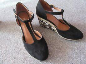 de1b7643ede Clarks Plus womens LORENZO OCEAN leather pony hair wedge heeled ...