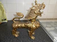 Antique Large Brass Chinese FOO DOG Statue Figurine Chinese Guardian Lion