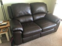 3 piece and 2 piece brown leather electric recliner sofas
