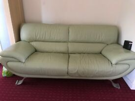 Leather sofa for free. olive color