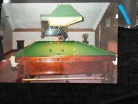 Full size snooker table. Burrough & Watts