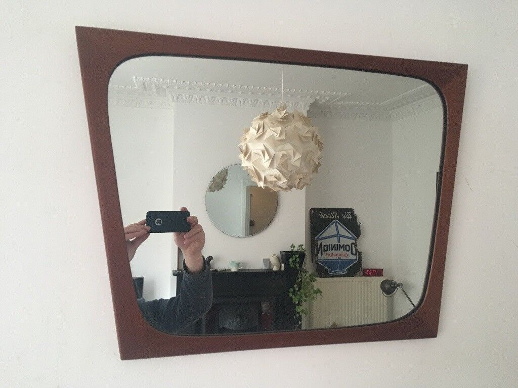 Mid Century Vintage Danish Abstract Square Tapered Teak Wall Mirror