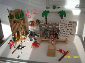 E.L.C. WOODEN PIRATE ISLAND/KNIGHTS FORTRESS,WITH PIRATES& KNIGHTS.MONSTERS,DRAGONS,TROLLS, ETC