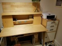 office furniture IKEA to include desk adjustable height various shelves plus two cabinets