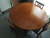 Round Vintage Danish Teak Table And 4 Chairs