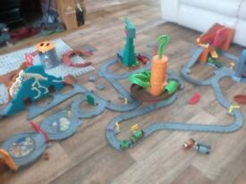 Take n play Thomas sets- 5 play sets plus track and Thomas and friends trains