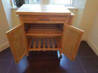Wooden Kitchen Island Storage on wheels