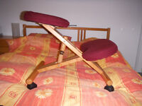 Kneeling seat stool home or office chair adjustable in red & pine