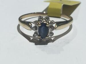 #139-10K YELLOW GOLD SAPPHIRE/DIAMOND RING Size7-FREE SHIPPING in CANADA ONLY-ACCEPTED PAYMENT INTERAC BANK TRANSFER
