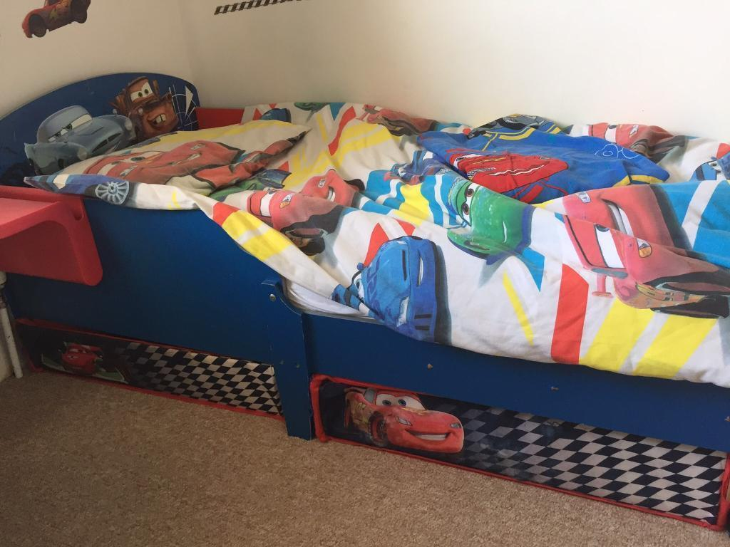 Disney Cars Toddler Bed Plus Desk With Stool