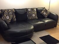 Black leather Sofa with couch