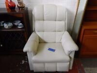 Lay Z Boy White Leather Recliner Chair