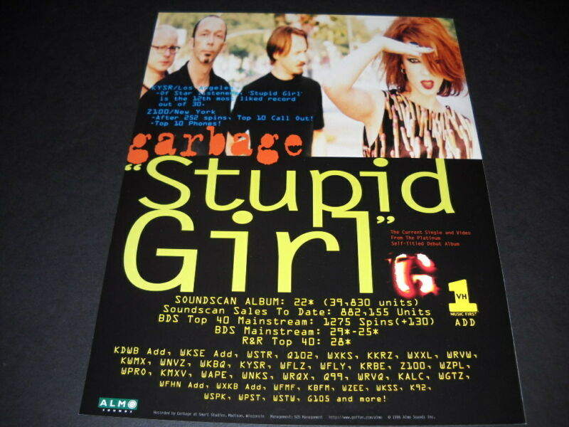 GARBAGE Stupid Girl is the current single RARE 1996 radio biz PROMO AD mint
