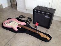 Squier Fender Strat electric guitar & amp package