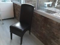 Brown leather dinning chair