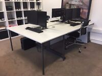 2 Light Grey Office Tables