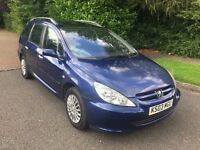 PEUGEOUT 307 SW AUTOMATIC 03 REG IN BLUE WITH ONLY 83400 MILES SERVICE HISTORY AND MOT MAY 2018
