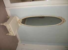 Oval 52 inch mirror French shabby chic style on a base, very rare