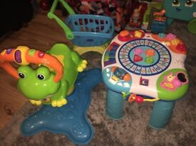 Vtech bounce and spin frog and a learning table