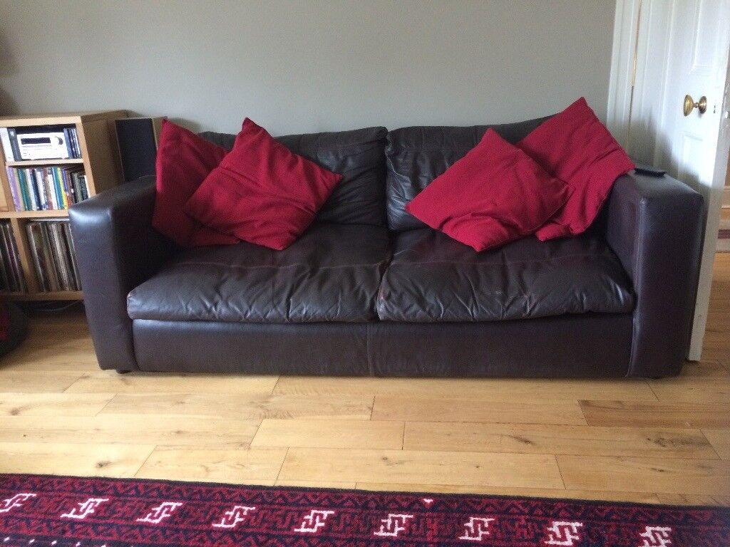 Brown leather sofa and armchairs