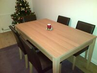 Oak Veneer 150cm Dining Table and 6 Chairs