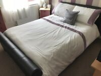 Dark brown sleigh double bed with mattress