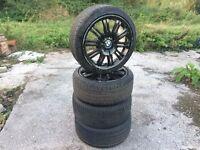 """BMW M3 Reps 18"""" 8.5J Alloy Wheels & GOOD TYRES 5x120 e46 BBS e36 e46 e90 mv1 mv2"""