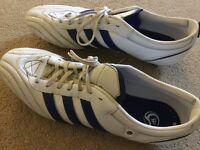 ADIDAS FOOTBALL BOOTS MENS SIZE 12 White/blue VG CONDITION DONCASTER AREA DN5