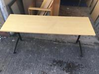 Light wooden top and black metal desk / table