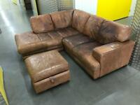 DFS tanned L shape sofa with stool, Free delivery