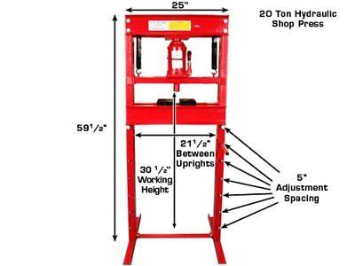 Hydraulic Workshop Garage Shop Floor Standing Press 20 ton with Pump - 20 Ton Hydraulic Shop Press