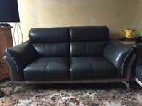 2 two seater leather and suede sofas