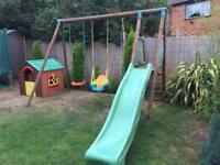 Garden Wooden Swing Slide Set