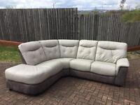 Dfs leather grey corner sofa and electric recliner chair