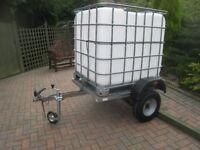 Modified Erde 142 trailer,1000 litre tank,new jockey wheel,new road lights.