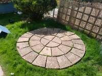 Circular patio / paving slabs garden feature.