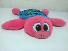 1x charactor & co turtle soft toy pink with blue & green shell