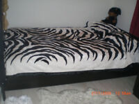 Black Ikea Double with or without Spring mattress
