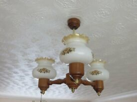 PAIR OF GOOD QUALITY STYLISH WOODEN CEILING LIGHTS COMPLETE WITH GLASS SHADES. VERY GOOD CONDITION