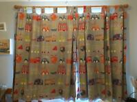Boys blue vehicle pattern tab top curtains with blackout lining sewn in 133cm wide x 138 H each