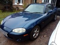 Mazda MX5 MX-5 Mk2.5 1800. 2003. Only 73,000mls. MOT Dec. Looks/drivs great. (0000)
