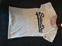 Women's White & Grey XS Superdry T-Shirt - BRAND NEW