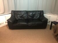 Leather three seat sofa