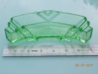 Vintage Green Glass Deco Style Curved Pin Tray