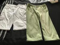 2 pairs crop trousers size 12