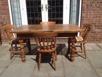 Antique Pine farmhouse table and 4 chairs