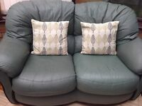 DFS Sage Green Leather 2 seater sofa & 2 chairs (inc cushions)