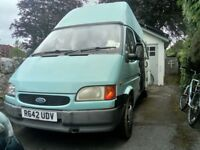 Converted Turquoise Camper van, Hi top, long Wheelbase 1997 Ford Transit, MOT until July
